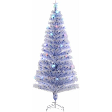 HOMCOM 26 Light Artificial Christmas Tree Decor Easy Store White Blue 6FT