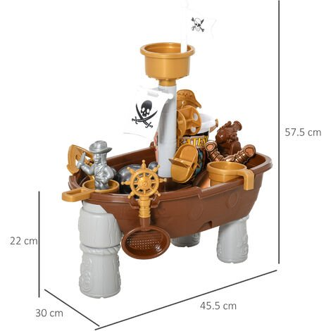 HOMCOM 26 Pcs Pirate Ship Play Table Sand & Water Fun Outdoor Indoor Activity Set