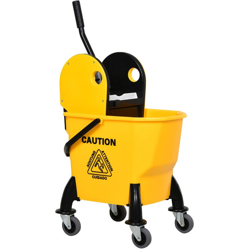 Image of 26L Mop Bucket & Water Wringer 4 Wheels Plastic Body Metal Handle Yellow - Homcom