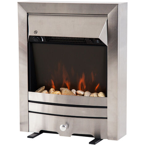 HOMCOM 2KW Stainless Steel Electric Fireplace Pebble Burning Effect Heater LED Lighting