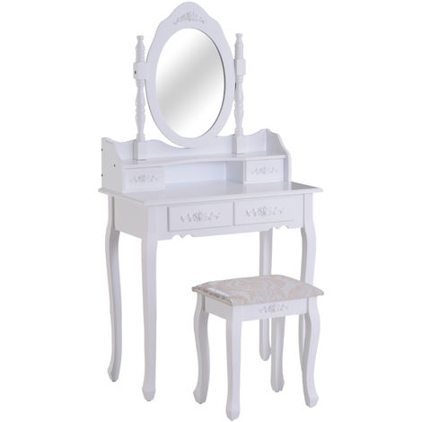 HOMCOM 2PC Dressing Table Set Desk Vanity Mirror Stool Shabby Chic Makeup Furniture 4 Drawers Jewelry Cosmetic Storage White