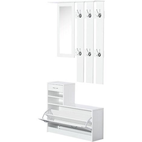 Homcom 2PC Shoes Storage Chest Cloths Rack Unit w/ Mirror Shoes Cabinet 6 Hooks