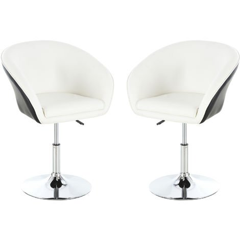 HOMCOM 2PCs PU Leather Tub Bar Stool Padded 360° Height Adjustable Cushion White