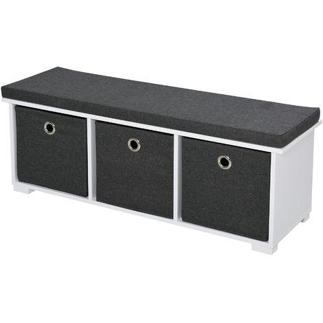 HOMCOM 3-Drawer Shoe Storage Bench w/ Cushion Top Stylish Home Storage