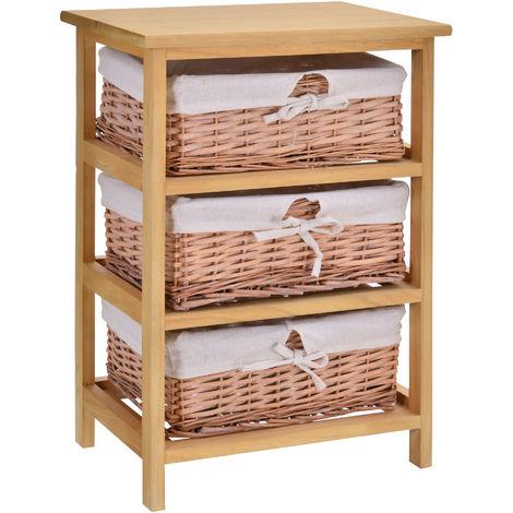 HOMCOM 3 Drawer Wicker Basket Storage Shelf Unit Wooden Frame Home Natural