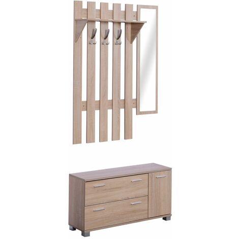 HOMCOM 3 EN 1 Perchero Espejo Zapatero Conjunto Muebles de Entrada Recibidor Pasillo
