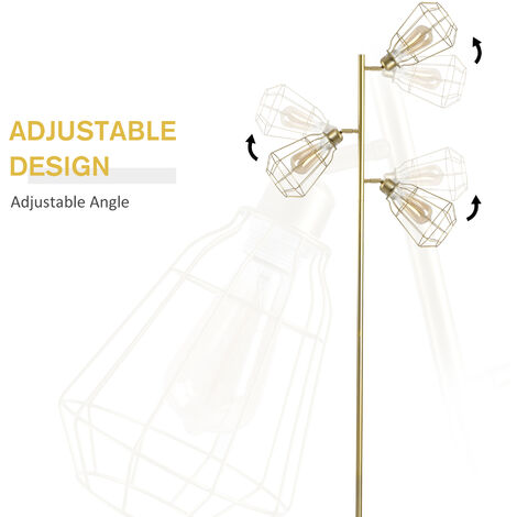 HOMCOM 3 Head Tree Floor Lamp Steel Base Adjustable Lampshade Home Gold