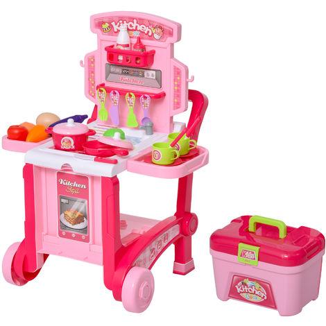 HOMCOM 3-In-1 48 Pcs Pretend Kitchen Cart Storage Playset Child Role Play