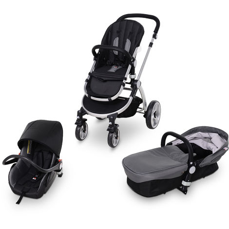 HOMCOM 3-In-1 Baby Stroller Car Seat Cot w/ Harness 4 Wheels Suspension Grey