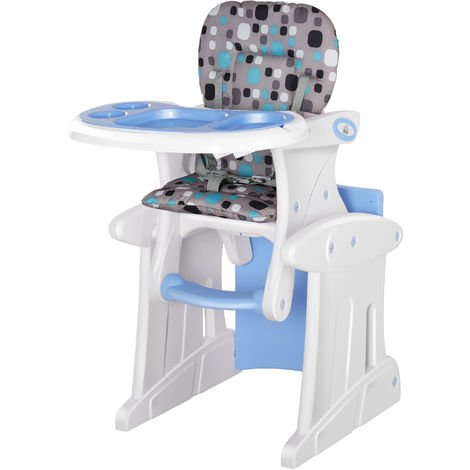 HOMCOM 3-in-1 Convertible Baby High Chair Booster Seat w/ Removable Tray Blue