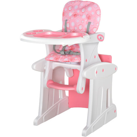 HOMCOM 3-in-1 Convertible Baby High Chair Booster Seat w/ Removable Tray Pink