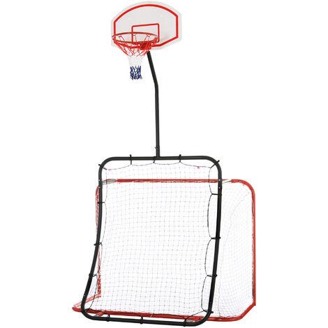 HOMCOM 3-In-1 Football Goal Basketball Net Rebounder Steel Frame Plastic Netting