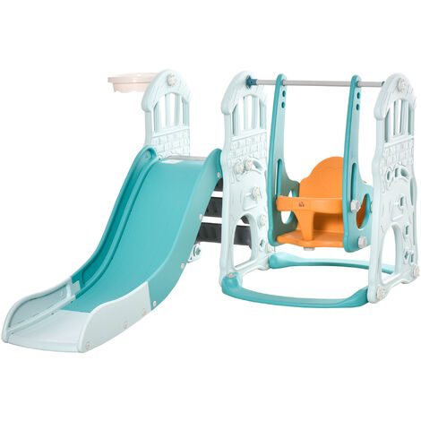 "main image of ""HOMCOM 3-In-1 Kids Slide & Swing Playset Outdoor Activity w/ Basketball Hoop"""