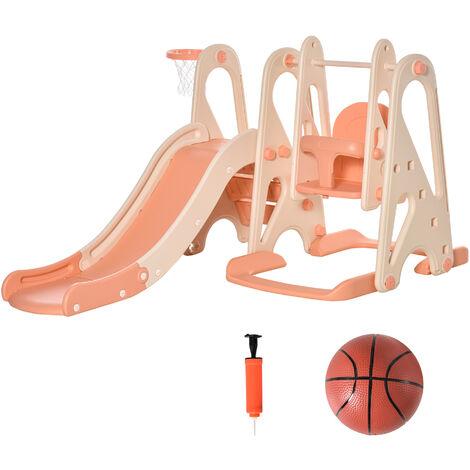 """main image of """"HOMCOM 3-In-1 Kids Swing & Slide Set w/ Basketball Hoop Seat Toddler Playground Pink"""""""