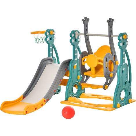 "main image of ""HOMCOM 3-In-1 Kids Swing Slide w/Basketball Hoop Outdoor Playground Activity Equipment"""