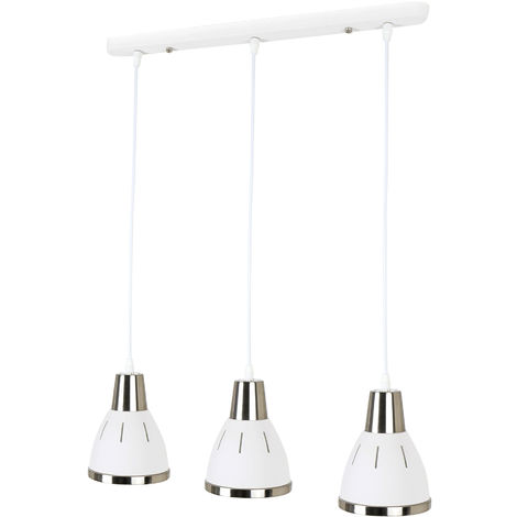 HOMCOM 3 Light Ceiling Pendant Domed 3 Lights Hanging Cord Metal White