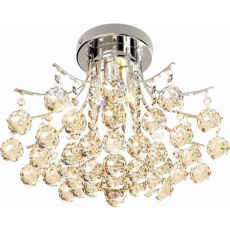 Homcom 3 Lights Ceiling Chandelier Pendant Crystal Light w/ Transparent K9 Crystal Droplets