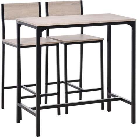 HOMCOM 3 Pcs Kitchen Dining Set High Back Stools Table Sleek Minimal Oak Tone