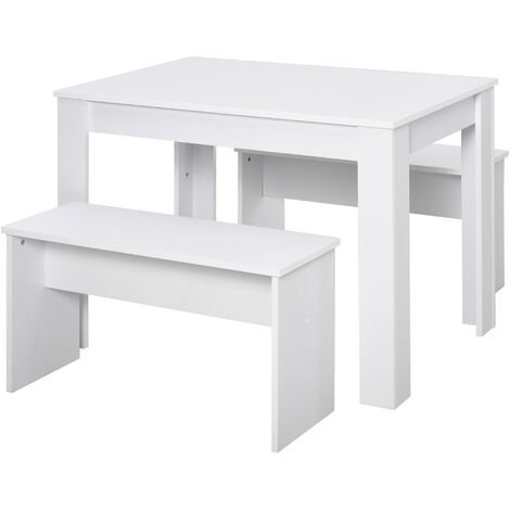 HOMCOM 3 Pcs Modern Kitchen Dining Set w/ Table 2 Benches Home Cafe Bar White