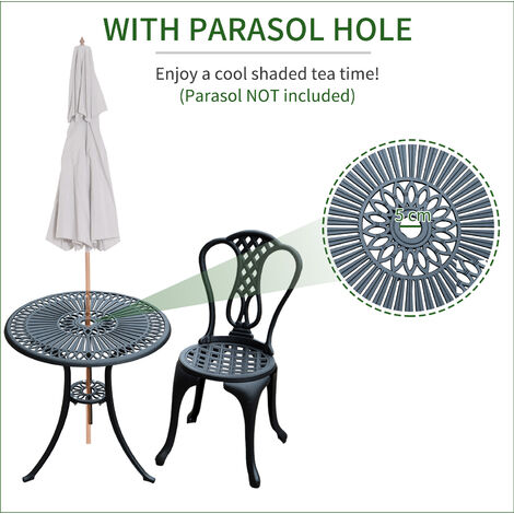 Outsunny 3 Piece Patio Cast Aluminium Bistro Set Garden Outdoor Furniture Table and Chairs Shabby Chic Style