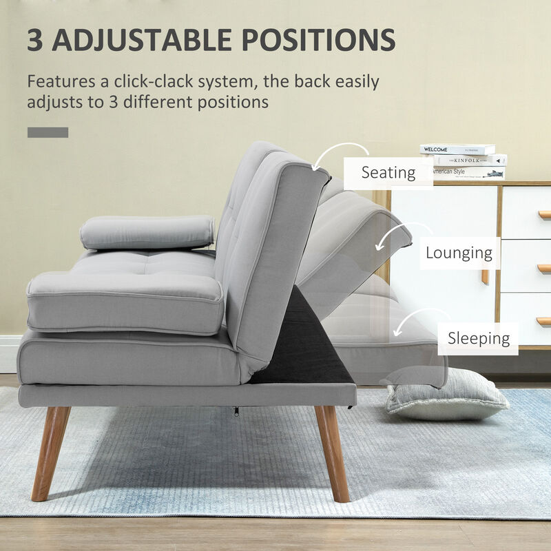 Stupendous Homcom 3 Seater Scandi Style Sofa Bed Split Back Recliner W Middle Table Armrest Grey Short Links Chair Design For Home Short Linksinfo