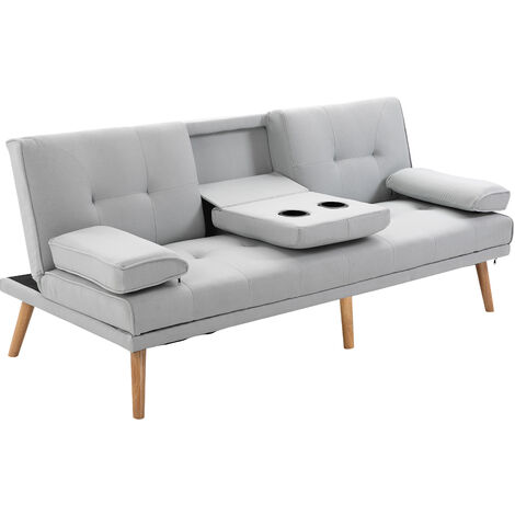 HOMCOM 3 Seater Scandi Style Sofa Bed Split Back Recliner w/ Middle Table Armrest Grey