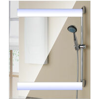 Homcom 3 Shelves Wall Mount LED Light Illuminated Mirror Cabinet Glass Bathroom 80Lx60Hx15D(cm)