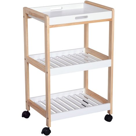 HOMCOM 3 Tier Mobile Trolley Cart Bamboo MDF Rolling Wheels Kitchen Café White