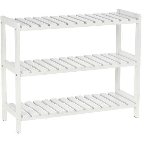 HOMCOM 3-Tier Shoe Rack Wood Frame Slatted Shelves Open Hygienic Storage 57x70cm