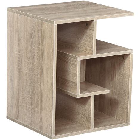 HOMCOM 3-Tier Side End Table Open Shelves Storage Coffee Book - Oak colour