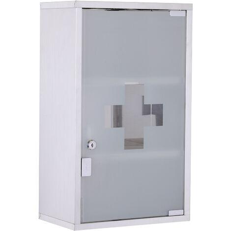HOMCOM 3 Tier Stainless Steel Wall Mounted Medicine Cabinet Glass Lockable Door w/2 Keys
