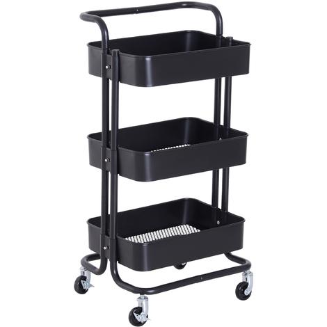 HOMCOM 3 Tier Storage Trolly Serving Unit w/ Wheels Utility Cart Organiser Black