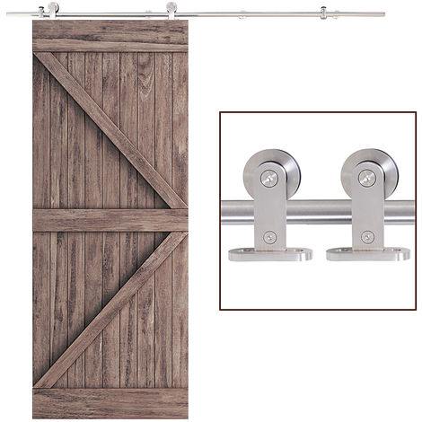 HOMCOM 35-45mm Wooden Sliding Door Kit Stainless Steel Smooth Operation Hardware