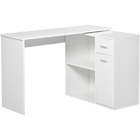 HOMCOM 360° Rotating Computer Desk L-Shaped Table Storage PC Home Office White