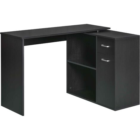 HOMCOM 360° Rotating Corner Desk L-Shaped Table Storage Shelf Cabinet Drawer Combo - Black