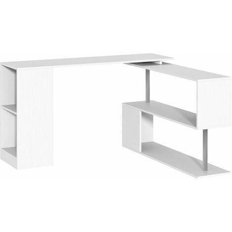 HOMCOM 360° Rotating Corner Desk Storage Shelf Combo Workstation L-Shaped - White