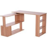 HOMCOM 360° Rotating L-Shaped Corner Desk Storage Shelf Combo Table - Maple