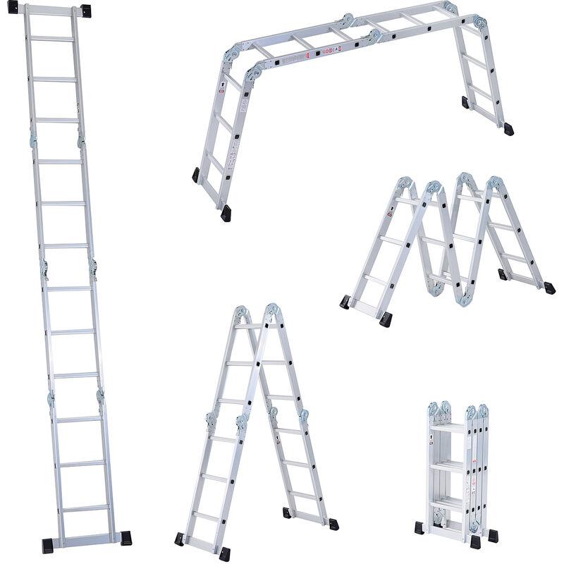 Image of 3.7M 4-Section 12 Steps Multi-purpose Folding Aluminium Ladder - Homcom