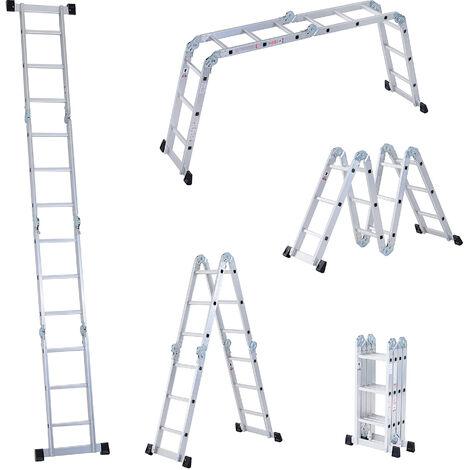 Homcom 3.7M 4-Section 12 Steps Multi-purpose Folding Aluminium Ladder