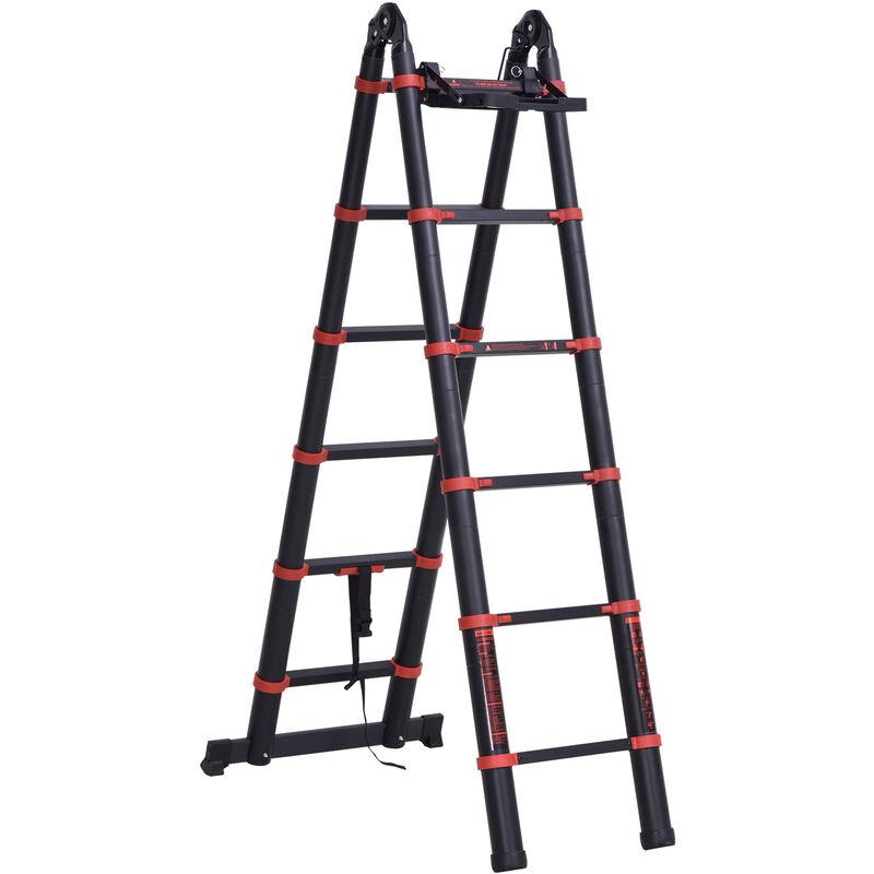 Image of 3.8M Duo Aluminium Ladder Tool Holder Herringbone Deployed w/ Safe Steps - Homcom