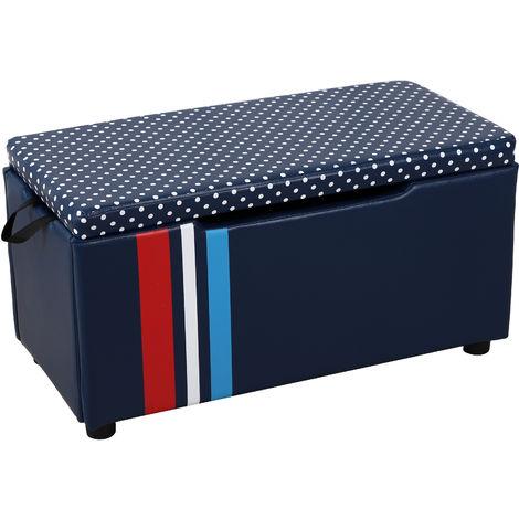 HOMCOM 39x75cm Kids Storage Bench Chest Bedroom Box Wood Frame Blue