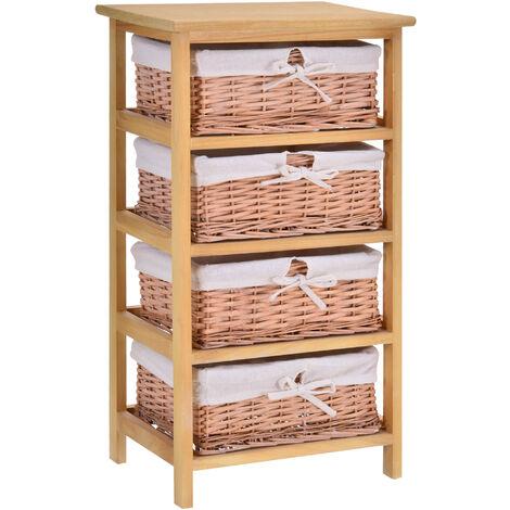 HOMCOM 4 Drawer Wicker Basket Storage Shelf Unit Wooden Frame Home Natural
