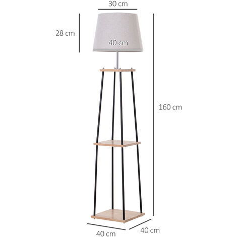 HOMCOM 4-Leg Tripod Floor Lamp w/ 3 Shelves Foot Switch Fabric Lampshade Black Beige