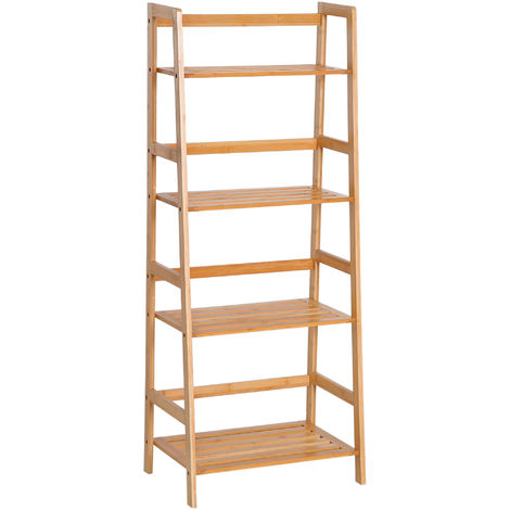 HOMCOM 4-Tier Bamboo Ladder Bookcase Utility Shelf DIY Plant Stand Holder Display Organizer