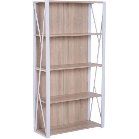 HOMCOM 4-Tier Bookshelf Rack Bookcase Display Shelves Organiser Plants Kitchen