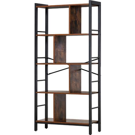 "main image of ""HOMCOM 4-Tier Industrial Multi-Unit Storage Display Bookcase Vintage Shelf7"""