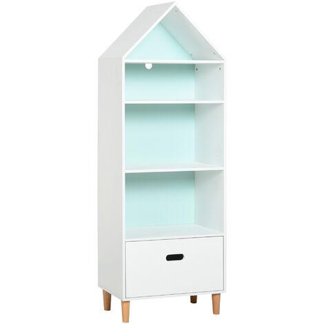 "main image of ""HOMCOM 4-Tier Kids Rocket Bookshelf w/ Drawer Bedroom Tidy Organised White"""