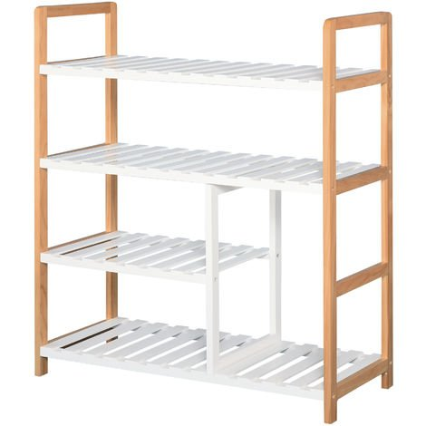 HOMCOM 4-Tier Shoe Wood Frame w/ Slatted Shelves Boot Compartment Storage