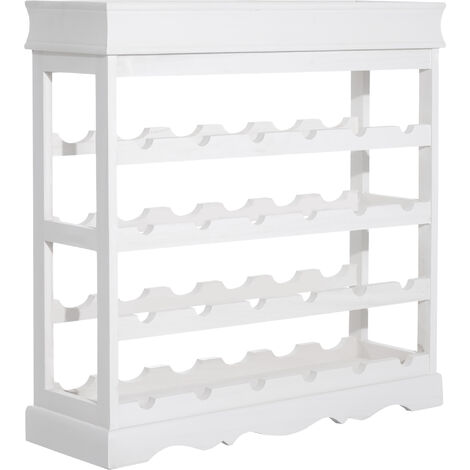 Homcom 4-tier Wooden Wine Rack Board 24 Bottles Stackable Display White
