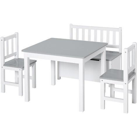 HOMCOM® 4-tlg.Kindersitzgruppe Kindertisch Kinderstuhl Kinderbank Kindermöbel Grau - grau